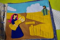 This was another Bible story page that I created on my own.   Here is Ruth gleaning grain in the field and Boaz is watching from a distance....