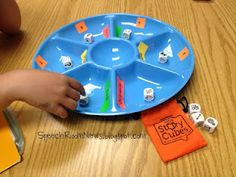 Snack Tray Therapy-fun game for kids to work on articulation/language goals, and all you need is a snack tray, dice and language cards! From Speech Room News. Pinned by SOS Inc. Resources. Follow all our boards at http://pinterest.com/sostherapy for therapy resources.