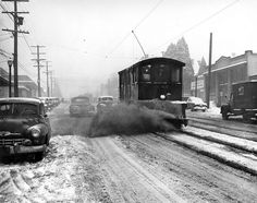 Streetcar brushing away snow. Vancouver Archives item# 2009-005.517