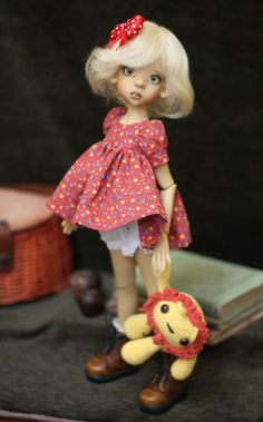 Bjd dress set and toy for MSD Kaye Wiggs Doll Layla available on Etsy OOAK