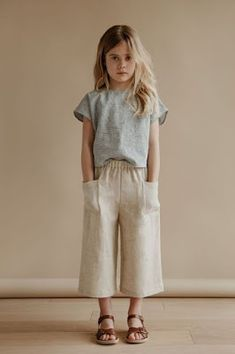 cecile culottes in oatmeal with lou shell top in stripe kids fashion, kids style, casual su. Outfits Niños, Baby Outfits, Toddler Outfits, Newborn Outfits, Cute Kids Outfits, Little Girl Fashion, Toddler Fashion, Child Fashion, Young Fashion