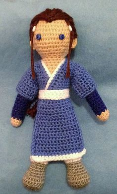 "This is a crocheted doll inspired by the character of Katara, from the animated TV series ""Avatar, the Last Airbender."""