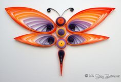 Quilled Dragonfly - Thick Wings  #quilling #dragonfly #ombre