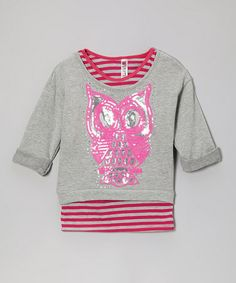 Take a look at this Pink Stripe Tank & Heather Gray Owl Crop Top by Beautees on #zulily today!