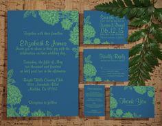 Elegant Blue and Green Wedding Invitation Set/Suite, Invites, Save the date, RSVP, Thank You Cards, Info, Printable/Digital/PDF/Printed by InvitationSnob on Etsy https://www.etsy.com/listing/193540611/elegant-blue-and-green-wedding
