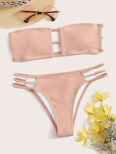Ladder Cutout Bandeau Bikini Set | ROMWE