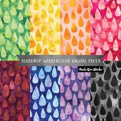 Teardrop Pattern Watercolor Digital Paper, Background Digital Image Download, Commercial Use