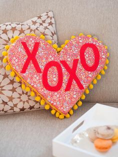 Heart-Shaped Phrase Pillow - Easy Handmade Valentine's Day Crafts on HGTV