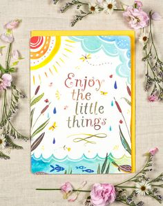 enjoy the little things greeting card by thewheatfield on etsy - Big Greeting Cards