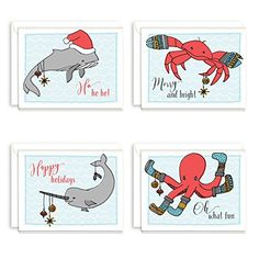 Ocean Animal Holiday Christmas Card Assortment  Pack of 20  425 x 55 -- Details can be found by clicking on the image. (This is an affiliate link)