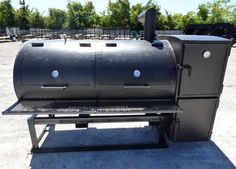 This smoker has a diameter barrel , the smoker is reverse flow , and the smoker has a prep counter. Bbq Grill, Grilling, Bbq Smoker Trailer, Gas Smoker, Custom Bbq Pits, Barrel, Flow, Patio, Outdoor Decor