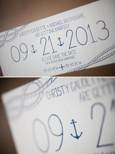 Nautical letterpress save the dates - by gus & ruby, printed by bella figura