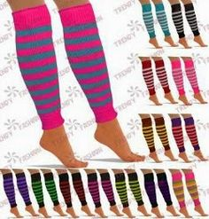 Stripy, knitted leg warmers for adults by Trendy Fashion. Ideal for creating an 80s dance style.