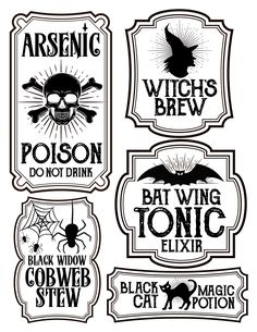 Free printables for Halloween bottle labels and potion labels. Easy and cheap Halloween craft and DIY project. Dulceros Halloween, Halloween Potions, Adornos Halloween, Halloween Stickers, Halloween Signs, Holidays Halloween, Vintage Halloween, Halloween Makeup, Halloween Recipe