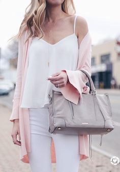 pink summer outfits - pink tie cuff cardigan over white cami and skinny jeans on pinterestingplans
