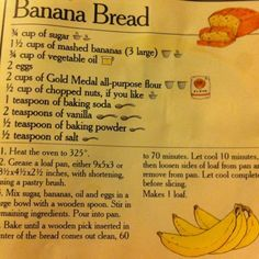 Classic Banana Bread ❤️ - Things I Love: Desserts Edition - Nut Bread Recipe, Easy Bread Recipes, Old Recipes, Banana Bread Recipes, Vintage Recipes, Cooking Recipes, Gold Medal Banana Bread Recipe, Recipies, Easy Banana Bread