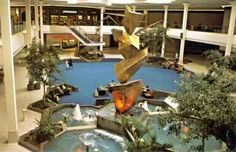"""Atrium seating for """"tired shoppers"""" at Southlake Mall in Merrillville, Ind. featured live trees, fountains and modern art in The mall opened in Dark Interiors, Vintage Interiors, Merrillville Indiana, Dead Malls, Mall Of America, Shopping Malls, Luxury Vinyl, Atrium, The Good Old Days"""