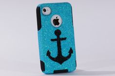 iPhone4 Otterbox Case, iPhone 4 Case, Glitter Black Anchor Frost iPhone4S Case, iPhone 4s Case, iPhone4 Cover, iPhone4S Cover - would choose a different color scheme though...