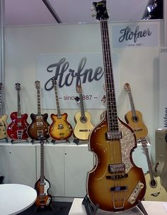 Checking out some Hofner violin bass guitars in the Hofner booth at NAMM 2013.
