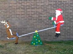 Teetering Santa and Reindeer Pattern What a fun-filled action display for your Yard! Santa and Rudolph will ride for hours at a time, legs pushing off, arms waving. Wooden Christmas Crafts, Christmas Yard Art, Diy Christmas Decorations Easy, Christmas Hacks, 4th Of July Decorations, All Things Christmas, Christmas Lights, Winfield Collection, Wood Yard Art