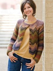Crochenit Ripple Jacket Crochet Pattern Download from Anniescatalog.com -- Create a beautiful ripple jacket using a double-ended hook! This lovely jacket is made using medium worsted-weight yarn. It uses a size K crochet hook and a crochenit hook.
