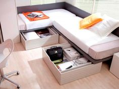 Corner Twin Beds with Table   Corner Layout Full Size Twin Beds with Storage Drawers