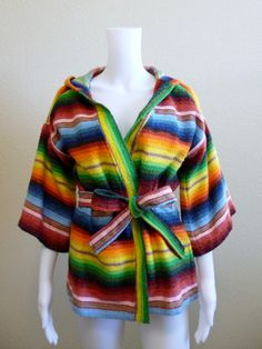 Vintage RAINBOW WonderfulNESS - Multi Color Stripes Belted Hoodie Women Small Sweater Jacket Top Shirt Size Small Medium.