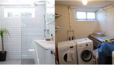 BYGGE BAD I KJELLER: Familen hadde et trangt og utrivelig vaskerom i kjelleren som de ønsket å gjøre om til et bad. Løsningen å innlemme mesteparten av det ubrukte gangarealet i badet. Foto: Espen Grønli Stacked Washer Dryer, Washer And Dryer, Washing Machine, Laundry, Home Appliances, Bathroom, Interior, Basement Ideas, Laundry Room
