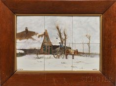 "Distel Pottery Six-tile Hand-painted Tableau After Anton Mauve, Amsterdam, Holland, early 20th century, depicting a farmhouse with a figure standing in a horse-drawn cart amidst a snowy landscape, signed ""a. AMAUVE"" l.l. and ""DISTEL"" l.r., framed, total tile size 11 3/4 x 17 3/4 in."