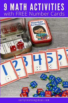 Add these free printable number cards, counters, & dice to an empty mint tin to create fun math activities for your classroom, at home, or on the go. Preschool Activities At Home, Learning Games For Kids, Number Activities, Counting Activities, Preschool Math, Kindergarten Math, Early Learning, Baby Activities, Special Education Classroom