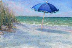"Daily Paintworks - ""Vacation Beach Umbrella Coastal Art by Poucher"" - Original Fine Art for Sale - © Nancy Poucher"