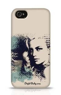 A Pretty Girl And Painted Blots Apple iPhone 4 Phone Case