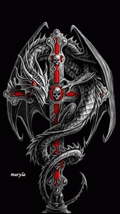 As you move closer to the ancient weapon to get a closer look the decorative dragon around the hilt begins to pulsate. Skull Tattoos, Body Art Tattoos, Sleeve Tattoos, Celtic Dragon Tattoos, Dragon Tattoo Designs, Skull Pictures, Dragon Pictures, Skull Artwork, Dragon Artwork