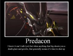 Take a hint Starscream - Uh-huh, don't mess with a Pred. :D