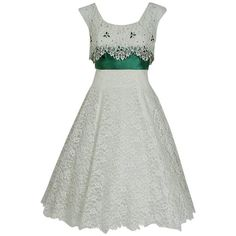 Preowned 1950's Peggy Hunt White Lace & Green Satin Rhinestone... ($800) ❤ liked on Polyvore featuring dresses, vintage, wedding dresses, white, evening cocktail dresses, white summer dress, lace cocktail dress, summer cocktail dresses and vintage cocktail dresses