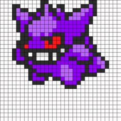 Search Results: Pokemon Bead Patterns Gengar Pokemon, Pokemon Sprites, Fuse Bead Patterns, Perler Patterns, Beading Patterns, Kandi Patterns, Pixel Art Templates, Perler Bead Templates, Meliodas Vs