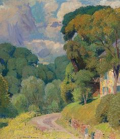 Evan`s Road, Daniel Garber. American Impressionist Painter - - New Hope, PA artist: Impressionist Landscape, Impressionist Paintings, Landscape Art, Landscape Paintings, American Impressionism, Traditional Paintings, Renoir, Claude Monet, Famous Artists