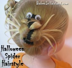 cute - spider hair for halloween - crazy hair day Halloween Spider, Halloween Fun, Halloween Costumes, Halloween Jamie, Little Girl Hairstyles, Cute Hairstyles, Halloween Hairstyles, Girls Hairdos, Toddler Hairstyles