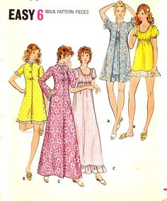 Butterick 6589 70s Womens babydoll nightgowns lingerie vintage sewing pattern, Bust 34. This 70s babydoll nightgown and robe lingerie vintage sewing