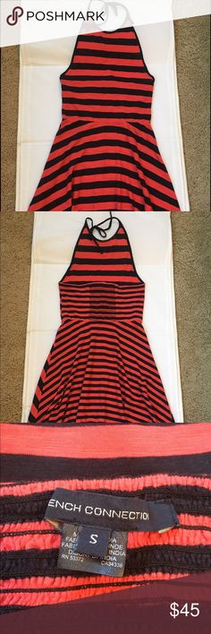 """French Connection halter dress This is a red and navy blue striped cotton halter dress. No tags but never worn. 38"""" length , 13"""" across waist, 14"""" across chest. French Connection Dresses Mini"""