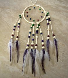 Dream Catcher  Colorful Rainbow Feather by peacefrogdesigns, $35.00