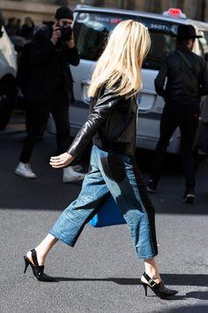 Black leather jacket + cropped wide-leg jeans