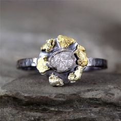 Gold Nugget and Raw Diamond Halo Ring Modern by ASecondTime