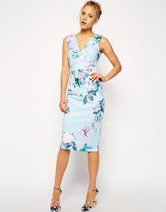 Image 1 ofASOS Blue Floral Pencil Printed Bodycon Dress
