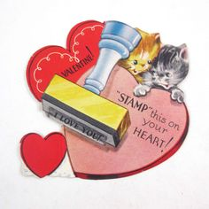 Vintage Children's Novelty Valentine with Two Cute Tabby