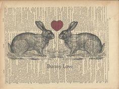 Bunny Love Rabbit Print on Vintage Dictionary by TexasGirlDesigns, $10.00
