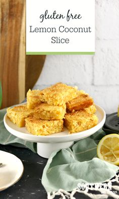 Gluten Free Lemon Coconut Slice Recipe - Homemade desserts don't get easier than this lemon coconut slice recipe. Made from scratch with pantry staples you probably already have, this easy recipe will become a family favourite. Gluten Free Cooking, Gluten Free Desserts, Vegan Gluten Free, Homemade Desserts, Dairy Free, Lemon Coconut Slice, Indian Dessert Recipes, Ethnic Recipes, Condensed Milk Desserts