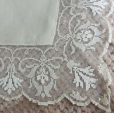 Items similar to Vintage 58 Sq Ivory Tablecloth Floral Filet Lace Embroidered Tablecloth Ivory Tablecloth Wedding Tablecloth The Lace Emporium on Etsy wedding Tables lace Filet Crochet, Irish Crochet, Hand Crochet, Crochet Lace, Lace Knitting, Wedding Tablecloths, Linens And Lace, Vintage Floral, Hand Embroidery