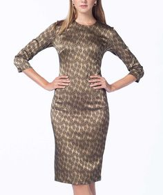 Another great find on #zulily! Gold Circle Sheath Dress by Guita #zulilyfinds
