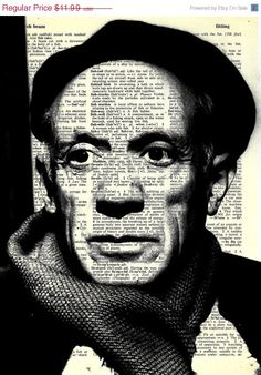 Pablo Picasso  - Print on Vintage repurposed paper - dictionary print